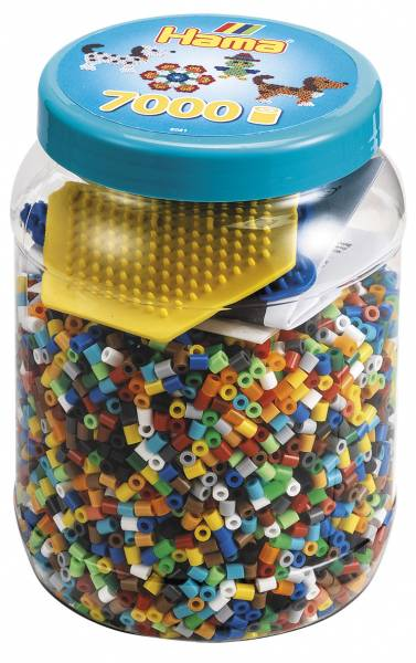 Hama Beads and Pegboards in tub - 7000 beads hexagonal and dog