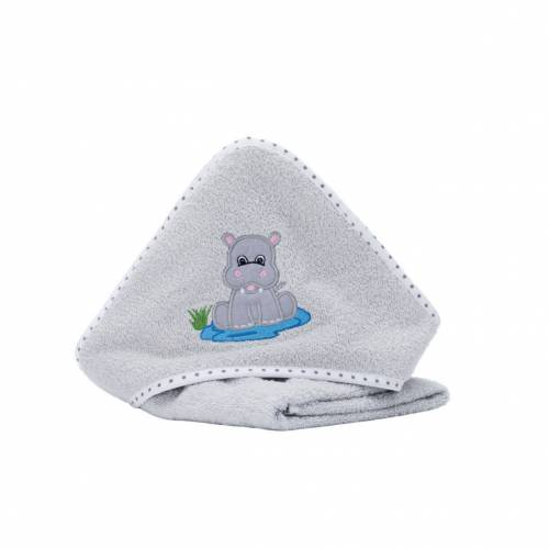 FILLIKID Hooded Towel 75x75cm - Hippo Grey