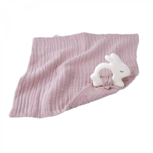 KIKADU Rubber Rabbit with Towel - Pale Rose