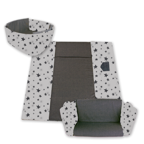 MINENE 3in1 Activity Mat - Grey Stars