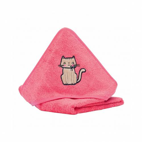 FILLIKID Hooded Towel 75x75cm - Coral Red